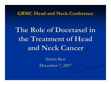 The Role of Docetaxel in the Treatment of Head and Neck Cancer