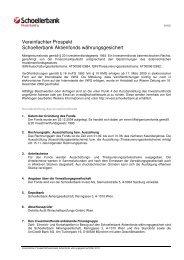 Vereinfachter Prospekt Schoellerbank Aktienfonds währungsgesichert
