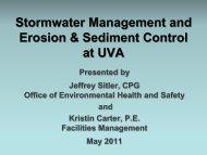 Stormwater Management and Erosion & Sediment Control at UVA