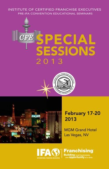 2013 Special Sessions Brochure - International Franchise Association