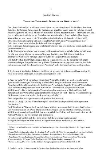 PHANTASIE und WIRKLICHKEIT Das - Friedrich Kümmel