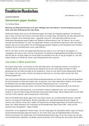 Frankfurter Rundschau - Gemeinsam gegen Ausbau