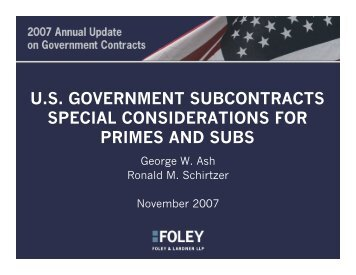 us government subcontracts special considerations for primes and ...