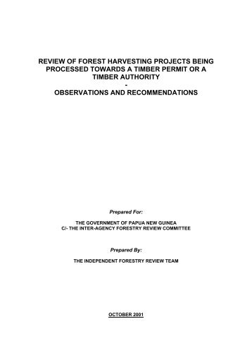 review of forest harvesting projects being processed ... - Forest Trends