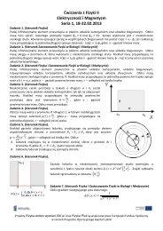 Ćwiczenia z Fizyki II Elektryczność i Magnetyzm Seria 1, 18-22.02 ...