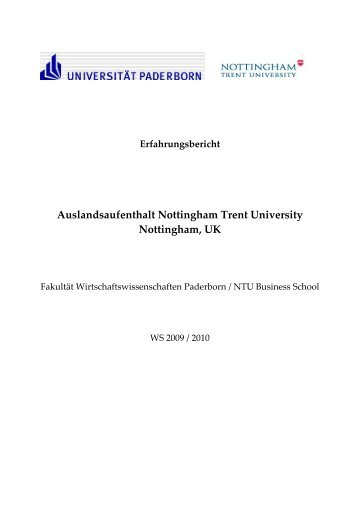Auslandsaufenthalt Nottingham Trent University Nottingham, UK