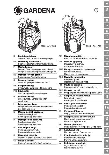 OM, Gardena, Submersible Pump / Dirty Water Pump, Art 01780-20 ...