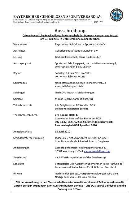 Verbindliche Anmeldung - Bayerischer Gehörlosen Sportverband ev