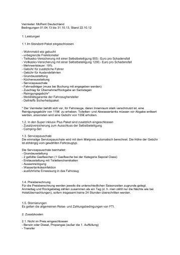 diese Seite als PDF - Wohnmobil Camper mieten buchen: Bei FTI ...