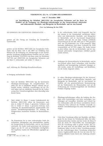 VERORDNUNG (EG) Nr. 1275/2008 DER KOMMISSION ... - EUR-Lex