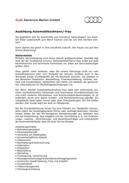 Ausbildung Automobilkaufmann Azb 2010 Audi