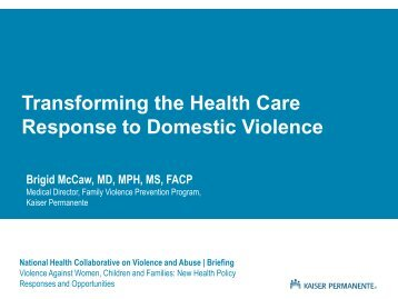 Power Point Presentation Brigid McCaw - Futures Without Violence