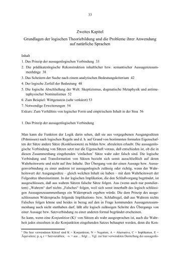 Zweites Kapitel Grundlagen der logischen Theoriebildung und die ...