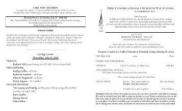 7-15 worship 10 - First Congregational Church