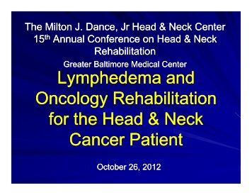Lymphedema and Oncology Rehabilitation for the Head & Neck ...
