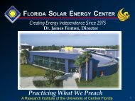 Presentation - Florida Solar Energy Center - University of Central ...