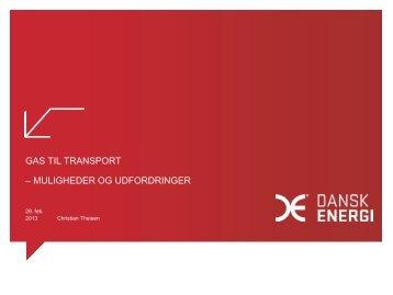 Gas til transport – muligheder og udfordringer