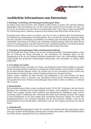 Ausführliche Informationen zum Datenschutz - Fliesen-Discount24.de