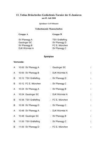 13. Tobias Brüschwiler-Gedächtnis-Turnier der E-Junioren