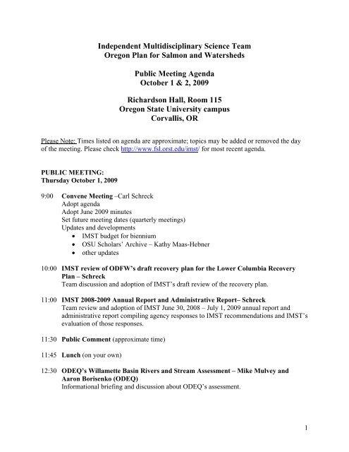 Independent Multidisciplinary Science Team Oregon Plan for