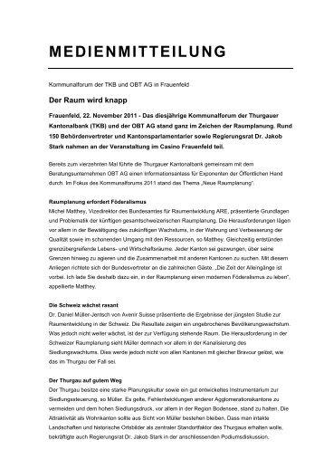 Kommunalforum Frauenfeld - Der Raum wird knapp (PDF 388 - obt