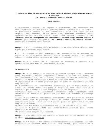 1º Concurso ANSP de Monografia em Previdência Privada ...