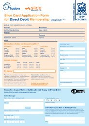 Slice Card Application Form for Direct Debit ... - Fusion Lifestyle