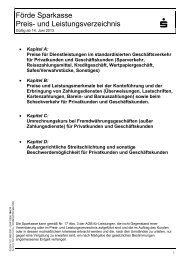Förde Sparkasse Preis- und Leistungsverzeichnis