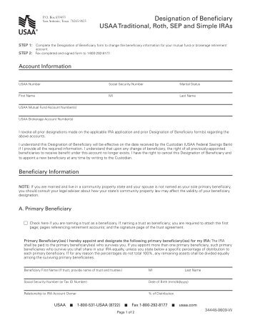 Transfer On Death Registration And Beneficiary Designation Usaa