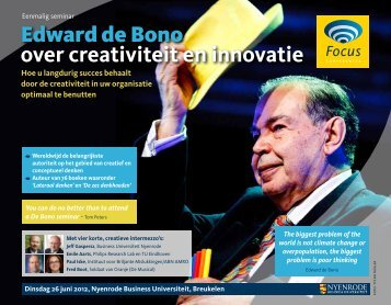 Edward de Bono over creativiteit en innovatie - Focus Conferences