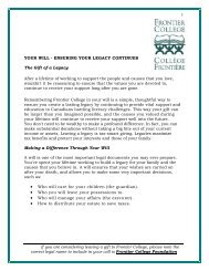 Your Will - Ensuring Your Legacy Continues - Frontier College