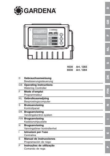 OM, Gardena, Programación de riego, Art 01283-20, Art 01284-20 ...