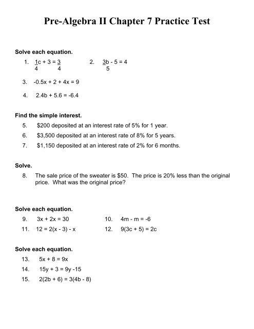 Pre Algebra II Chapter 7 Practice Test