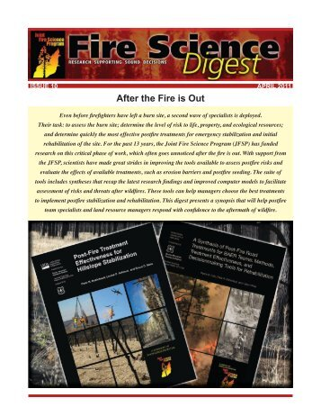 After the Fire is Out - Joint Fire Science Program