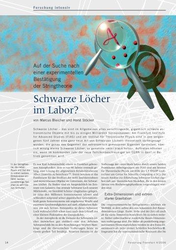 Schwarze Löcher im Labor? - Forschung Frankfurt