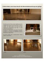 5 Sterne Hotel, unser Know How für die Marmorbodensanierung war gefragt