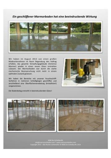 Ein geschliffener Marmorboden hat eine beeindruckende Wirkung