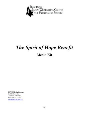The Spirit of Hope Benefit - Friends of Simon Wiesenthal Center For ...