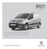 PEUGEOT Partner Kastenwagen - Preisliste