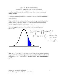 Section 7.5 – The Normal Distribution Section 7.6 – Applications of ...