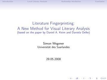 Literature Fingerprinting - Universität des Saarlandes