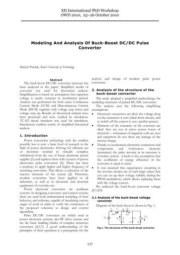 Modeling And Analysis Of Buck-Boost DC/DC Pulse Converter XII ...
