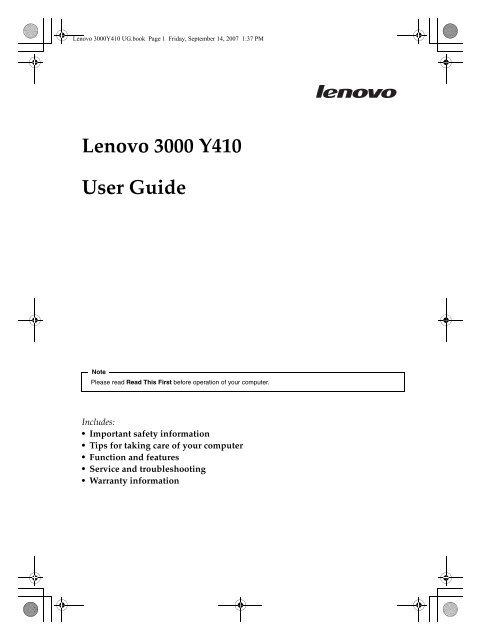 Lenovo 3000 Y410 User Guide