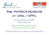 The PHYSICS MUSEUM at UNIL / EPFL