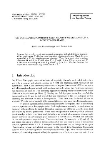 I Integral Equations and Operator Theory
