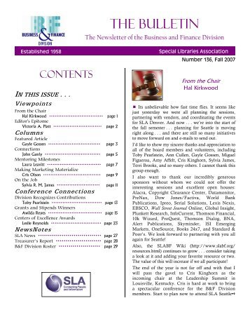 THE BULLETIN - Business & Finance Division - Special Libraries ...