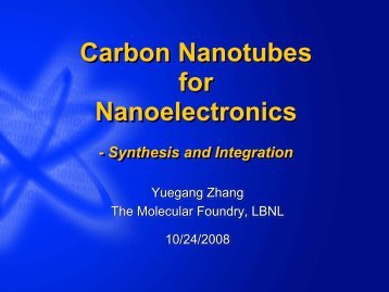 Carbon Nanotubes for Nanoelectronics-Synthesis and ... - Microlab