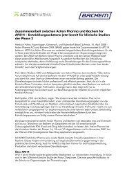 Zusammenarbeit zwischen Action Pharma und Bachem für AP214 ...