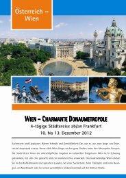 WIEN – CHARMANTE DONAUMETROPOLE - Flughafen Frankfurt