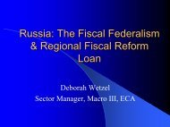 Russia: The Fiscal Federalism & Regional Fiscal ... - World Bank